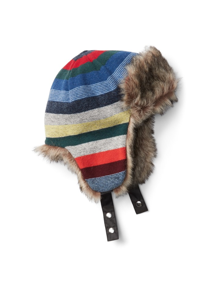 Crazy stripe trapper hat