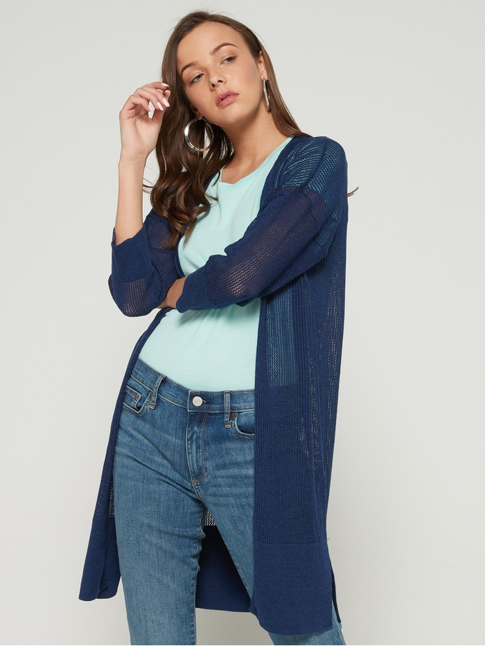 Open-Stitch Open-Front Cardigan