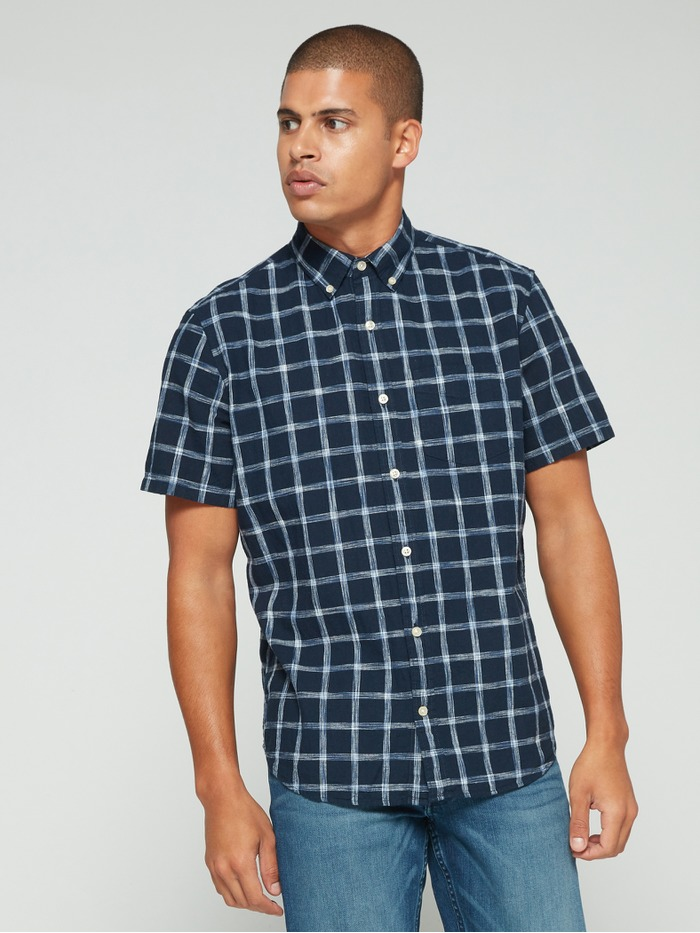 Ajuste estándar de Manga Corta Camisa de Lino de Algodón