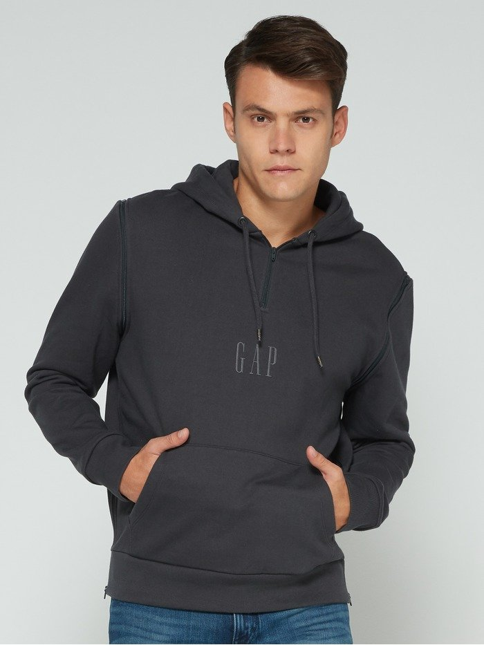 Gap + GQ STAMPD Logo Convertible Pullover Hoodie