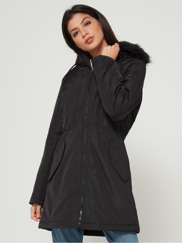 Luxe Hooded Puffer Jacket with Faux-Fur Trim