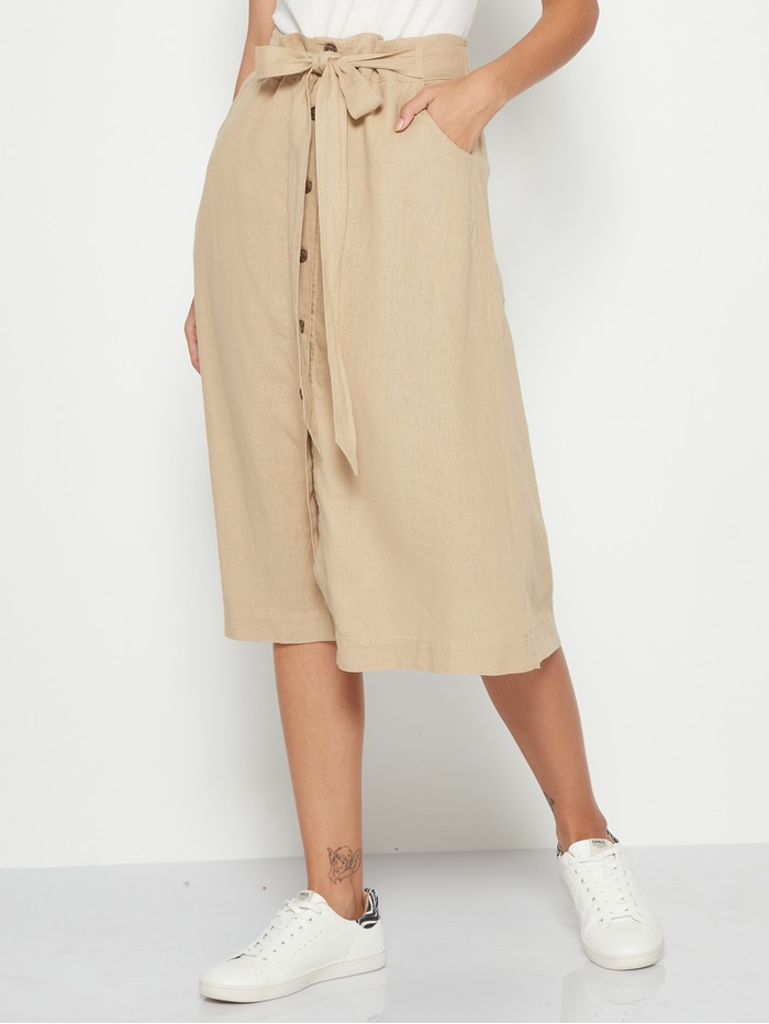 Tie-Front Linen Midi Skirt