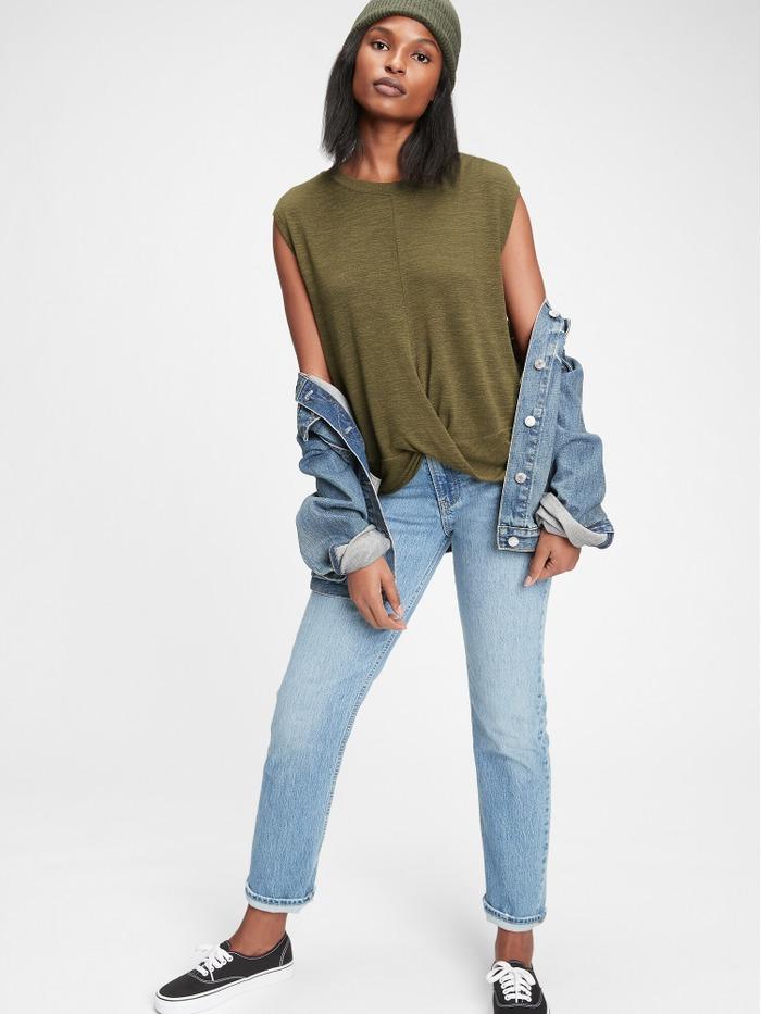 Softspun Sleeveless Twist-Knot Front T-Shirt