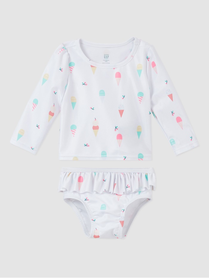 Baby Recycled Ice Cream Graphic 3-Piece Swim Set