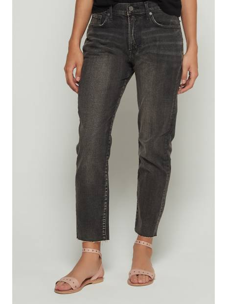 High Rise Girlfriend Jeans with Raw Hem
