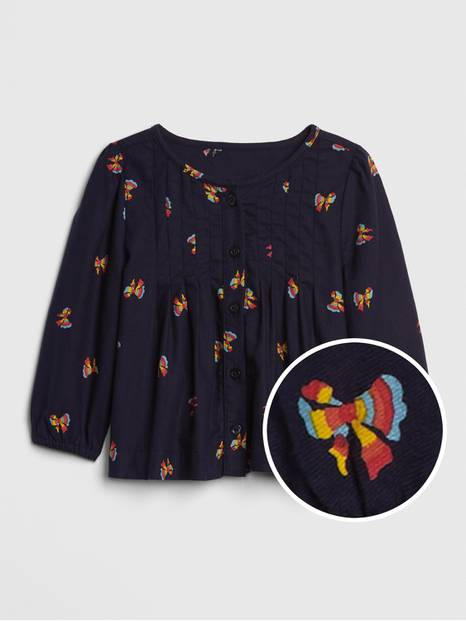 Toddler Print Pleated Top