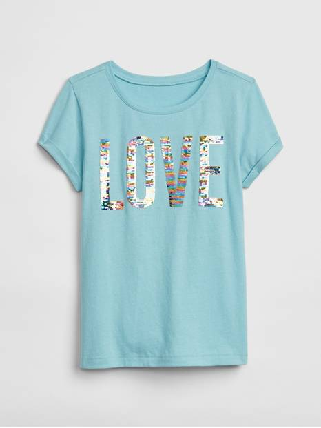 Flippy Sequin Graphic Short Sleeve T-Shirt