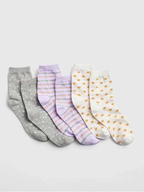 Kids Sparkle Print Crew Socks (3-Pack)