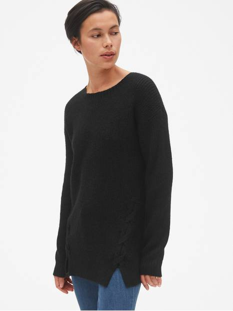 Shaker Stitch Lace-Up Pullover Sweater Tunic