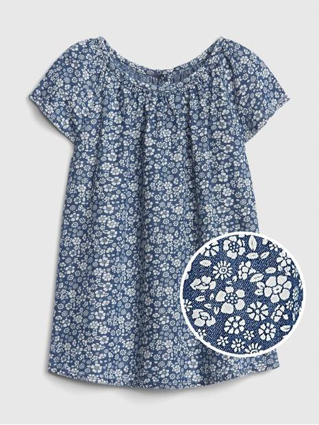 Baby Floral Denim Dress