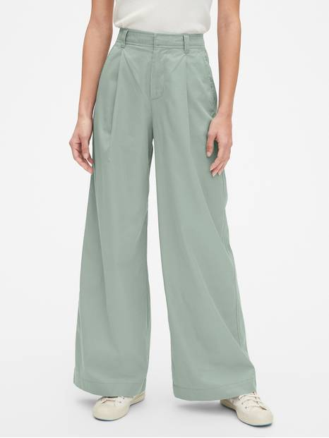 High Rise Pleated Wide Leg Chinos