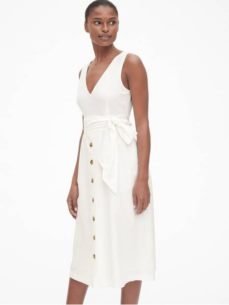 Button-Front Midi Dress in Linen