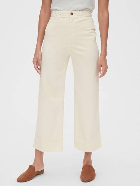 High Rise Wide-Leg Crop Chinos