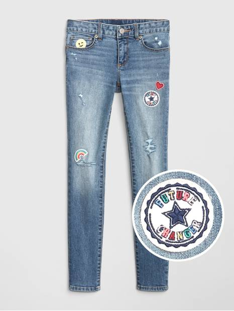 Kids Embroidered Patch Super Skinny Jeans with Fantastiflex