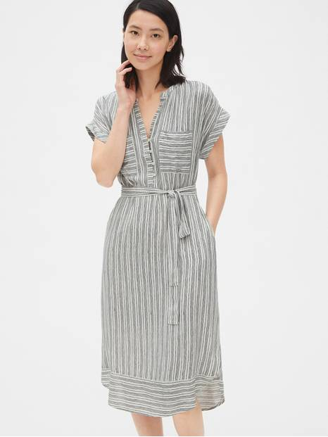 Stripe Roll Sleeve Shirtdress