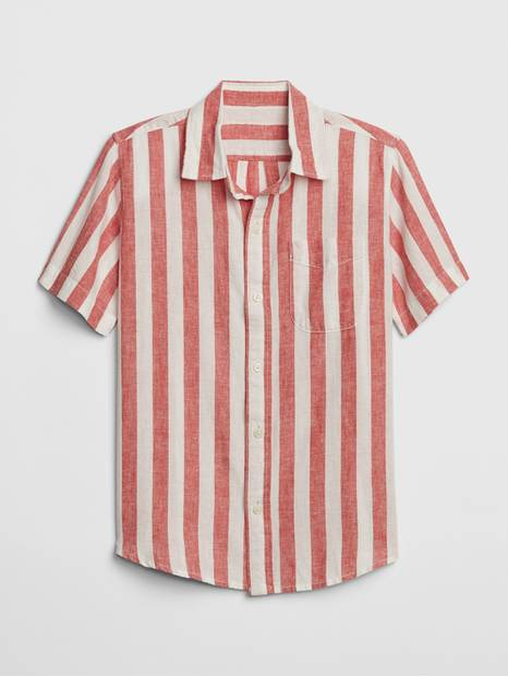 Kids Stripe Linen-Cotton Short Sleeve Shirt