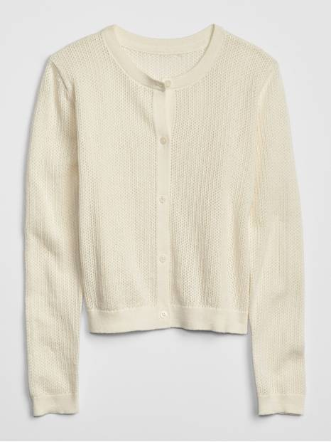 Kids Pointelle Cardigan Sweater