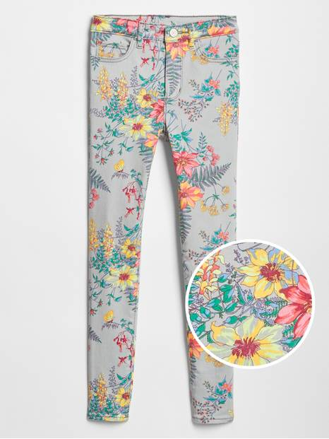 Kids High Rise Floral Print Jeggings