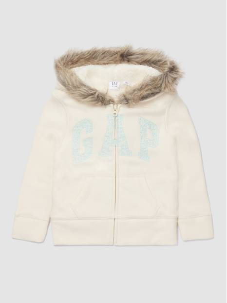Kids Gap Logo Fur Hooded Sweatshirt