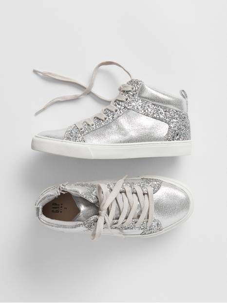 Kids Metallic Hi-Top Sneakers