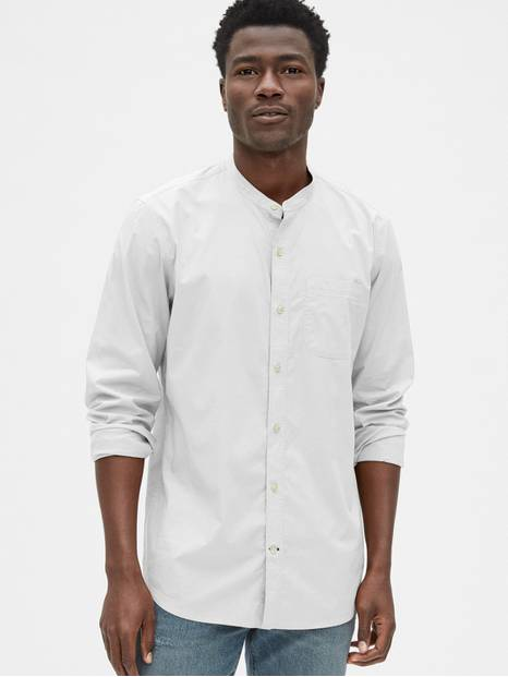 Banded Collar Shirt
