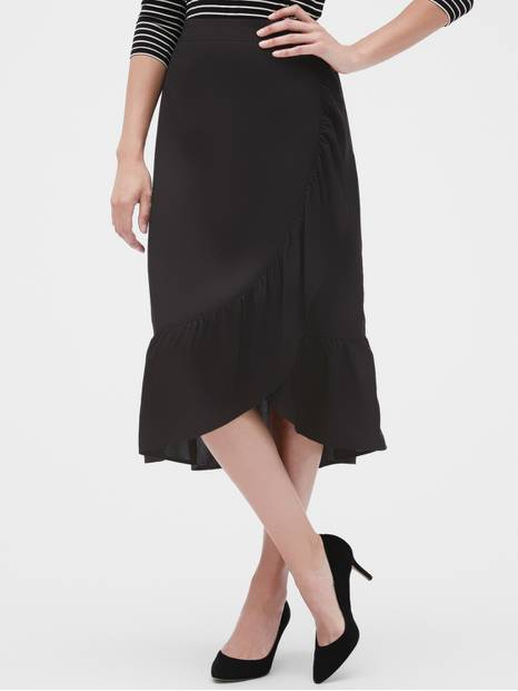 Ruffle Wrap Midi Skirt
