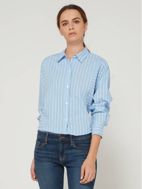 Striped High-Low Hem Long Sleeve Shirt