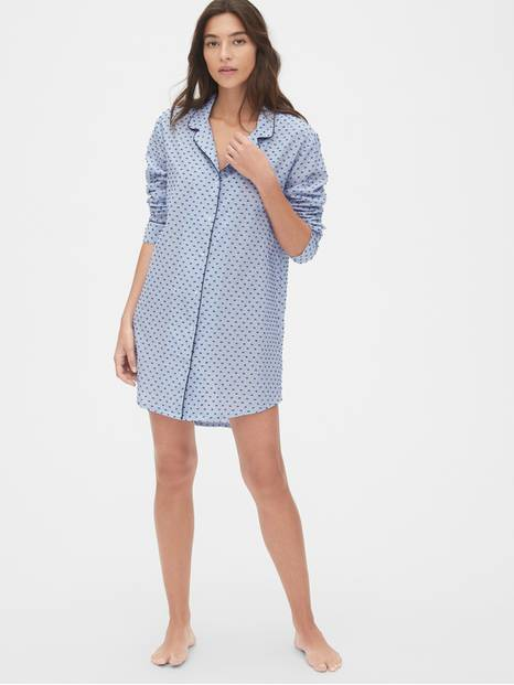 Stripe Sleep Shirt in Swiss Dot