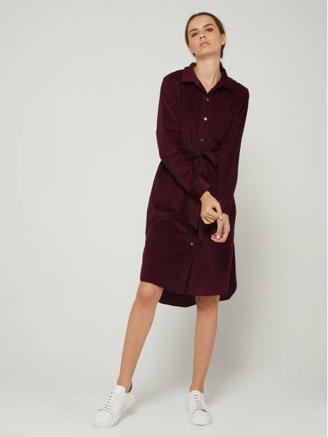 Corduroy Midi Shirt Dress