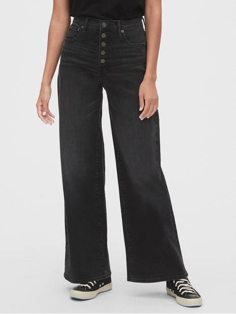 High Rise Wide-Leg Jeans with Secret Smoothing Pockets