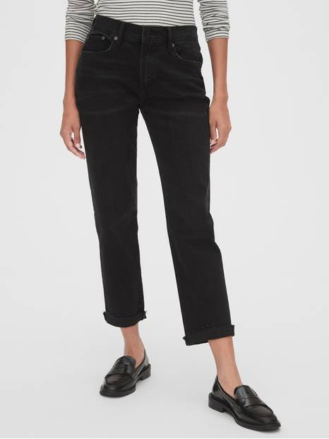 Mid Rise Girlfriend Jeans with Raw Hem