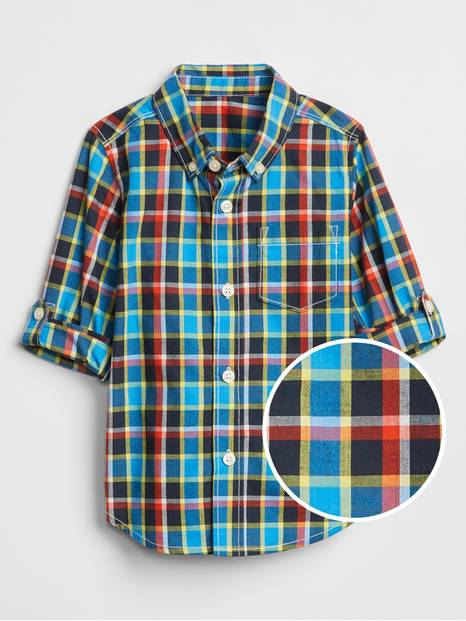 Toddler Plaid Convertible Long Sleeve Shirt