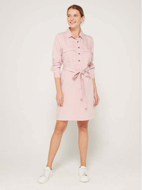 Long Sleeve Pocket Shirt Dress