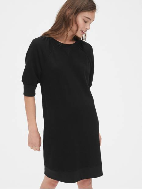 Puff Sleeve Crewneck Sweatshirt Dress