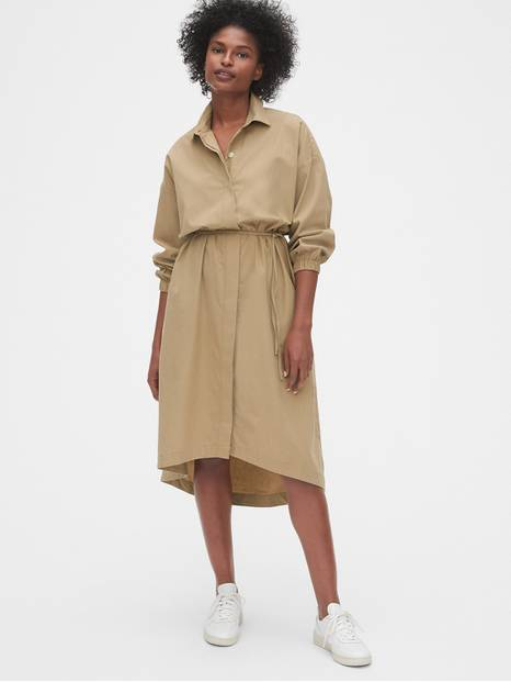 Solid Midi Shirt Dress