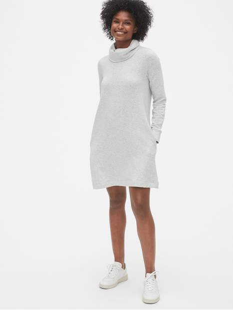 Cowl-Neck Swing Sweatshirt Dress