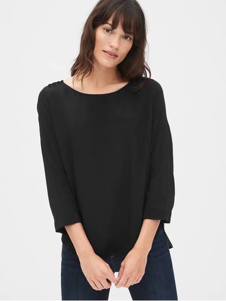Button-Shoulder Boatneck Top
