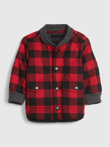 Baby Plaid Quilted Bomber