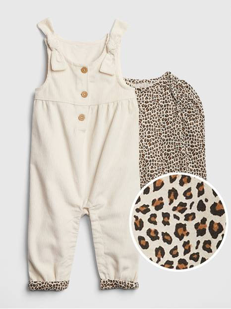 Baby Cord Overall Bodysuit Set