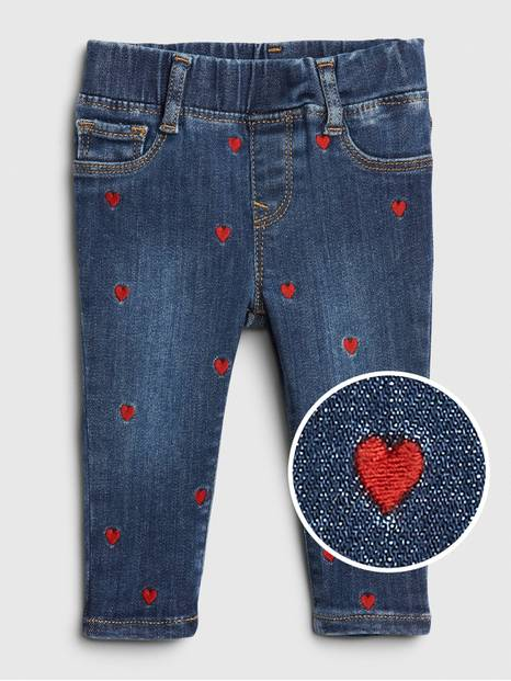 Baby Embroidered Heart Jeggings