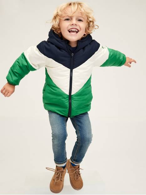 Toddler Colorblock Hooded Puffer Jacket