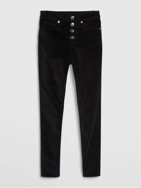 Kids High Rise Velvet Jeggings
