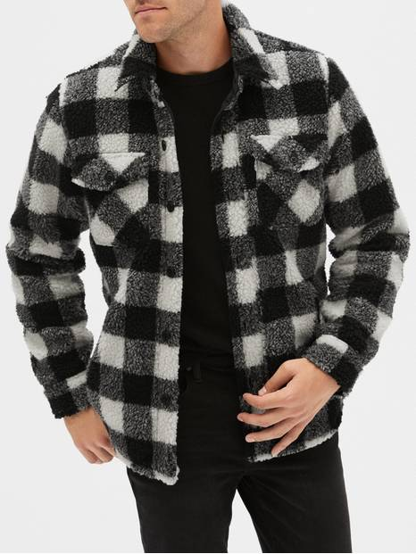 Plaid Sherpa Shirt Jacket
