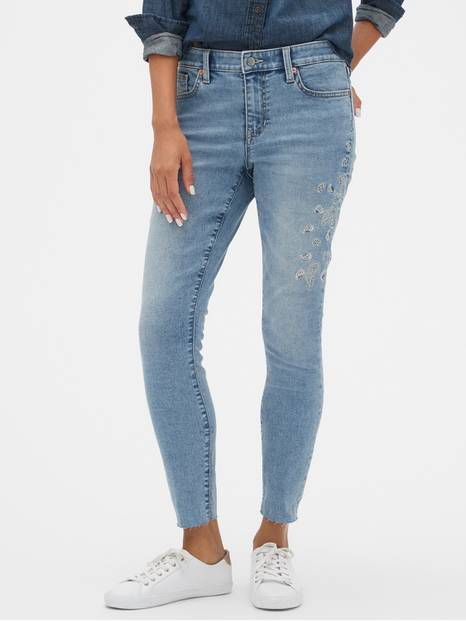 Mid Rise Embroidered Legging Skimmer Jeans