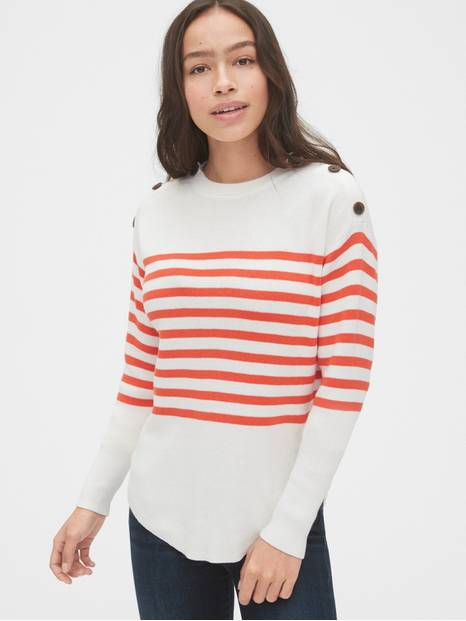 Stripe Button Crewneck Sweater