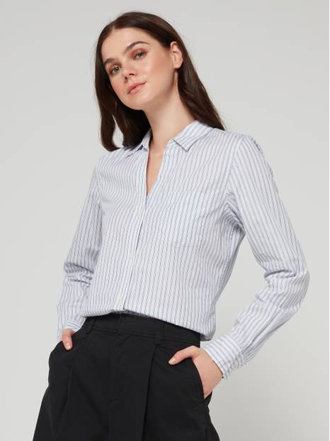 Fitted Boyfriend Lurex Stripe Shirt