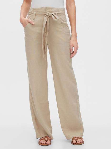 Tie-Belt Pants in Linen