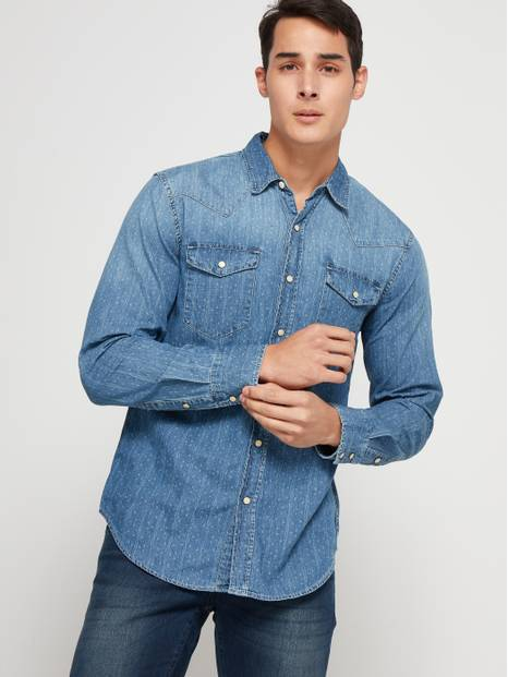 Print Denim Shirt in Standard Fit