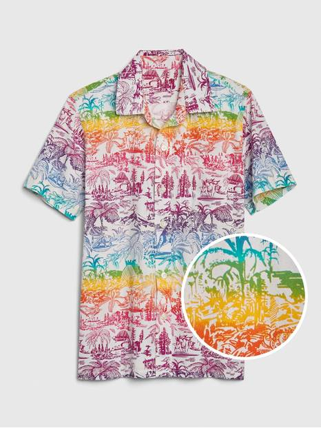 Kids Rainbow Graphic Button-Down Shirt
