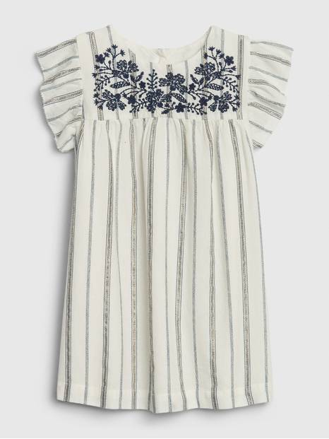 Toddler Embroidered Midi Stripe Dress